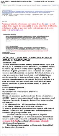 Correo falso sobre la conversión de Hotmail en servicio de pago